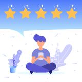 Boy gives positive feedback. Concept of feedback, good review, 5 star rating. Vector Illustration for web page, landing, poster, flyer, banner, presentation royalty free illustration