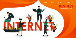 Vector illustration or web page with orange and yellow. a group of people who are communicating using internet technology around t. He words `INTERNET`. a man stock illustration