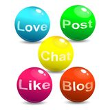 Vector illustration of Web Social Network Concept. Media and social network signs and words on bouncing colorful spheres. Isolated on white background in bright stock illustration