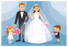 Vector illustration the wedding with the bride and the groom. The boy and the girl act as bridesmaids, groomsmen. Stock Image