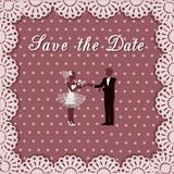 Wedding couple on background of lace and polka dots. Vector illustration of wedding couple on background of lace and polka dots Royalty Free Stock Photography