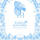 Vector illustration wedding invitation zentangl, frame flower, icon, portrait of woman, a girl in mask, doodle, zenart Stock Photo