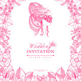 Vector illustration wedding invitation zentangle frame flower, icon, portrait of woman, a girl in mask, doodle, zenart Royalty Free Stock Image