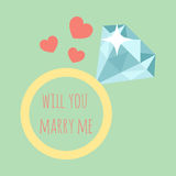 Vector illustration of wedding ring with diamond Royalty Free Stock Photos