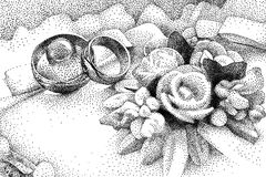 Vector illustration with wedding rings on pillow Stock Images