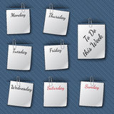 Vector illustration of the week notes clipped to Royalty Free Stock Photo