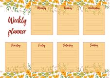Weekly planner. Vector illustration of Weekly planner with abstract background. For print notebooks, format A5. Cute page for notes. Daily planner for companies Royalty Free Illustration