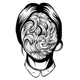 Vector illustration of weird young girl with sea waves instead face made in hand drawn style. Royalty Free Stock Photography