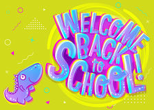 Vector Illustration of Welcome Back to School Cartoon Banner. Co Royalty Free Stock Photos