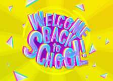 Vector Illustration of Welcome Back to School Cartoon Inscriptio. N. Colorful and Bright Banner for Knowledge Day in September with Geometric Background. School Stock Photography