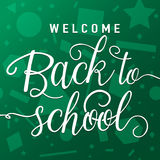 Vector illustration of welcome back to school greeting card with lettering element on seamless geometric background Stock Image