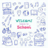 Vector illustration: welcome back to school. Lettering `welcome back to school` on an abstract background. Vector illustration drawn in sketch style Stock Photography
