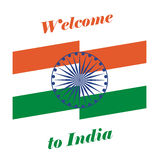 Vector illustration Welcome to India. Abstract background with flag of India Royalty Free Stock Photo