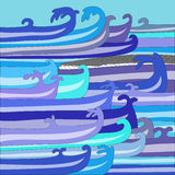 Vector illustration of whale in the ocean. In waves Stock Photo
