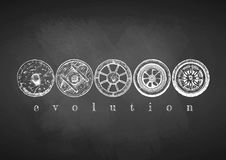 Evolution of the Wheel. Vector illustration of the wheel evolution set drawn with chalk on blackboard. Stone, antique wooden, spoked, steel and modern alloy Royalty Free Stock Photography
