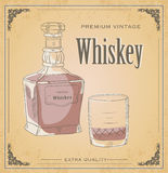 Vector illustration of Whiskey bottle and glass on grunge backgr Stock Images
