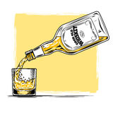 Vector illustration of whiskey and glass Royalty Free Stock Photo