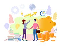 Vector illustration on white background. business porters a successful team. The investor holds money in ideas. financing stock illustration
