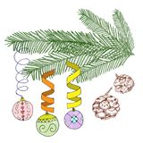 Vector illustration on white. Christmas decorated fir tree. Christmas balls on branch of fir tree. Vector illustration on white background. Christmas decorated Royalty Free Stock Image