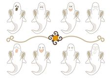 Halloween Ghost Facial expressions set vector illustration