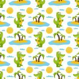 Seamless pattern with cartoon green crocodiles, palm trees, sun, clouds, sea and sand. Vector illustration on a white background Stock Images