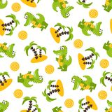 Seamless pattern with cute green crocodiles, palm trees, sand, sun. Vector illustration on a white background Stock Images