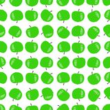 Seamless pattern of green apples. Vector illustration on a white background Stock Photos
