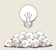 Vector illustration of white big lightbulb above pile Royalty Free Stock Photo