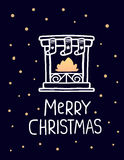 Vector illustration of white color stylized christmas fireplace. With socks, golden flame and handwritten text merry christmas on dark background. Hand draw Stock Photography