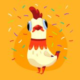 Vector illustration with white cute rooster and confetti isolated on yellow background. Holiday card with funny cartoon character. The symbol of 2017. Concept Royalty Free Stock Images