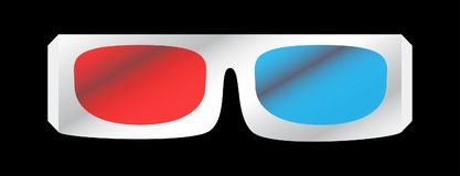 Vector illustration of 3D cinema glasses. Vector illustration of white 3D cinema glasses isolated on the black background.Red and blue glass Royalty Free Stock Photography