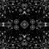 Vector illustration of white floral design over black background Royalty Free Stock Image