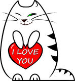 Vector illustration white funny kitten holds a red heart with a lettering `I love you` in honor of Valentine`s Day Royalty Free Stock Image