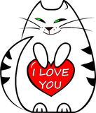 Vector illustration white funny kitten holds a red heart with a lettering `I love you` Stock Photo