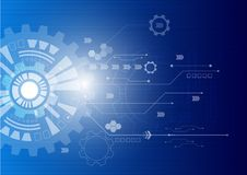 White gear wheel on circuit board, Hi-tech digital technology and engineering vector illustration