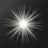 Vector illustration of a white glowing light effect with rays royalty free illustration