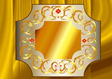 White Gold and Yellow Gold frame with white and red crystals Royalty Free Stock Images