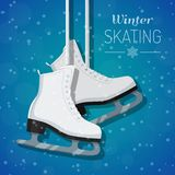 Vector illustration of white ice skates on winter background Stock Images