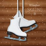 Vector illustration of white ice skates on wooden winter background Royalty Free Stock Photography
