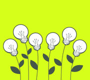 Vector illustration of white lightbulbs growing on green Stock Photos