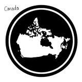 Vector illustration white map of Canada on black circle, isolate Stock Image