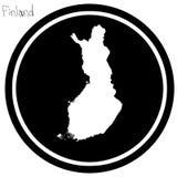 Vector illustration white map of Finland on black circle, isolat. Ed on white background Stock Photo