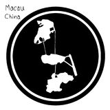 Vector illustration white map of Macau on black circle, isolated Royalty Free Stock Photo