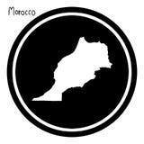 Vector illustration white map of Morocco on black circle, isolat. Ed on white background Stock Photos