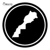 Vector illustration white map of Morocco on black circle, isolat. Ed on white background Stock Photo
