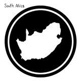 Vector illustration white map of South Africa on black circle, i. Solated on white background Royalty Free Stock Photography