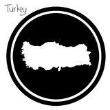 Vector illustration white map of Turkey on black circle, isolate Royalty Free Stock Photo