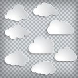 Illustration of white paper clouds set on a chequered background. Vector illustration of white paper clouds set on a chequered background Stock Photo