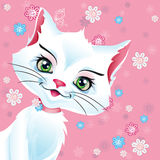 Vector illustration of a white pussy cat on a pink background Stock Photo