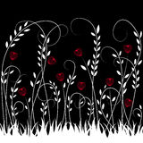 Vector illustration of white and red floral design over black background Stock Photography